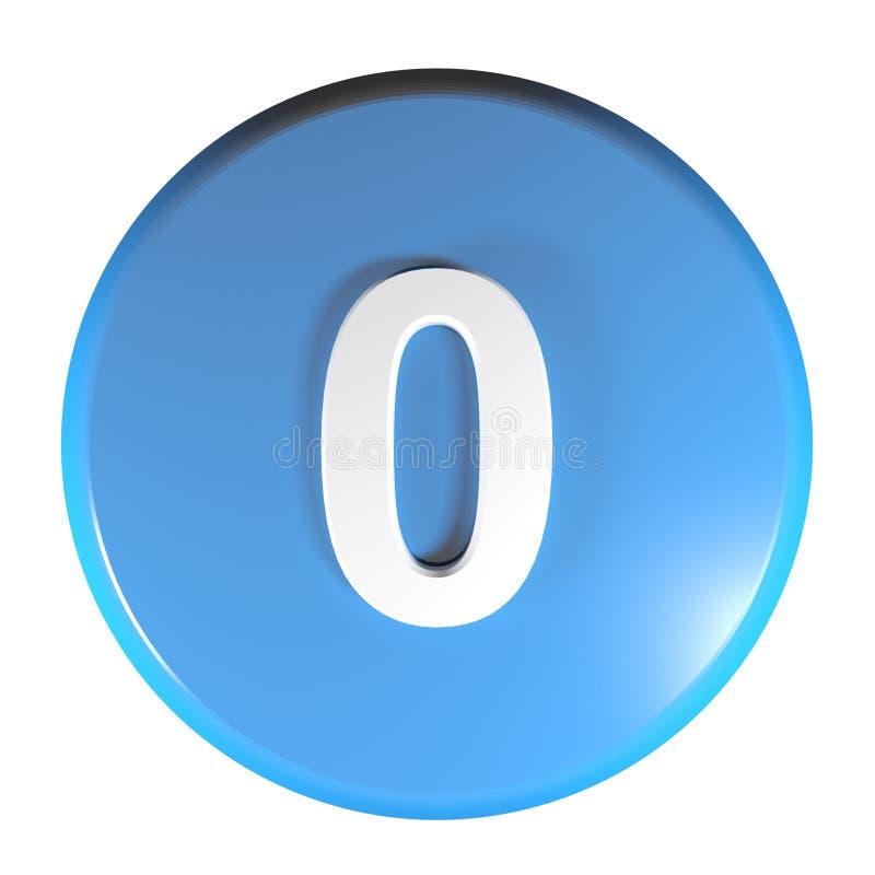 Tecla azul do círculo do número 0 - ilustração da rendição 3D ilustração royalty free