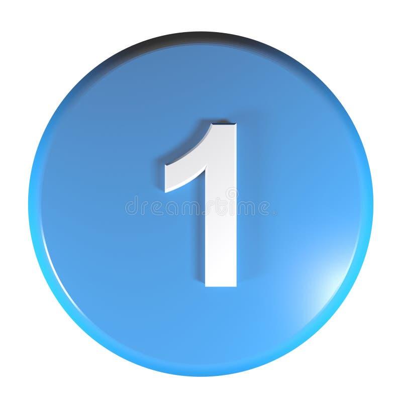 Tecla azul do círculo do número 1 - ilustração da rendição 3D ilustração stock