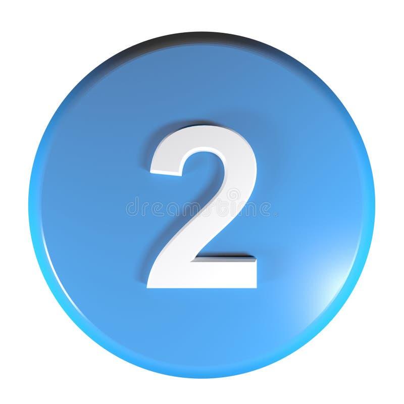 Tecla azul do círculo do número 2 - ilustração da rendição 3D ilustração stock