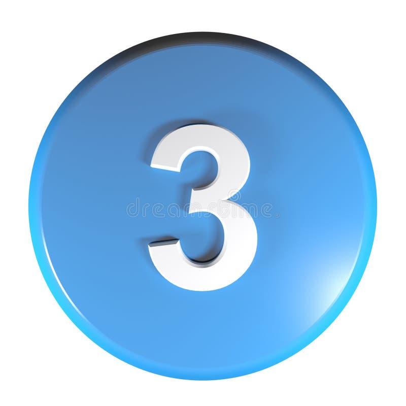 Tecla azul do círculo do número 3 - ilustração da rendição 3D ilustração stock
