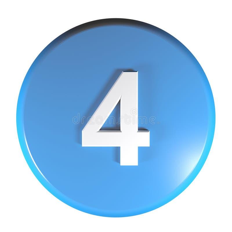 Tecla azul do círculo do número 4 - ilustração da rendição 3D ilustração do vetor