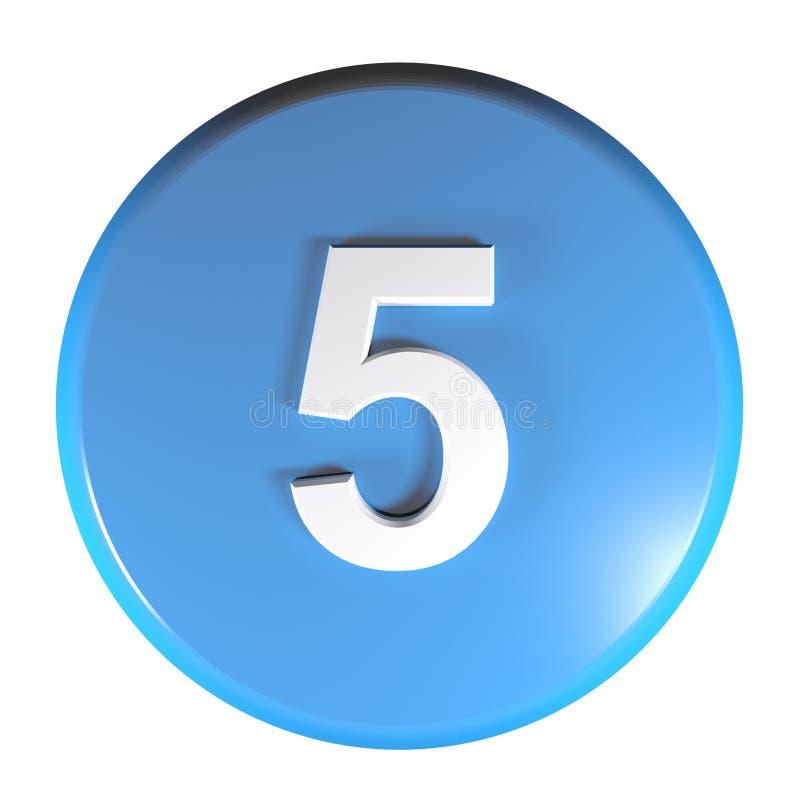 Tecla azul do círculo do número 5 - ilustração da rendição 3D ilustração royalty free