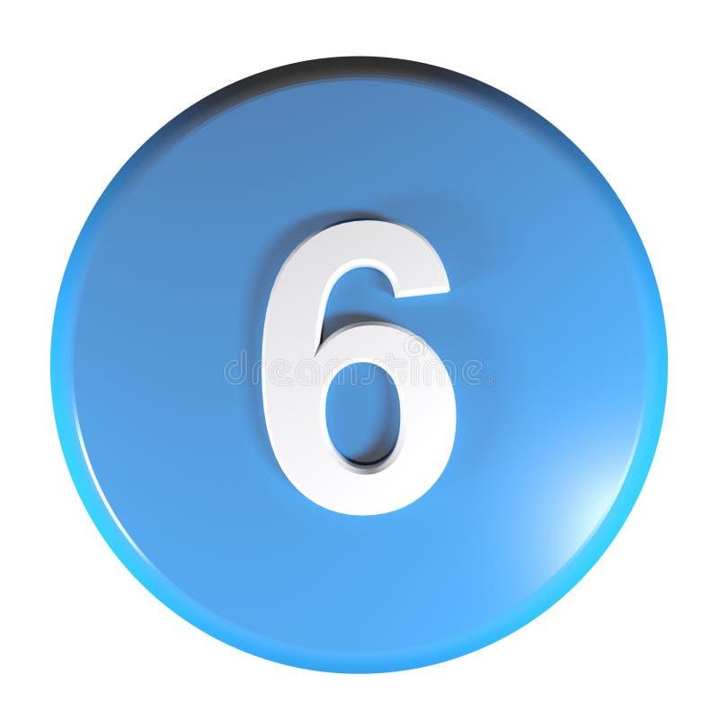 Tecla azul do círculo do número 6 - ilustração da rendição 3D ilustração royalty free