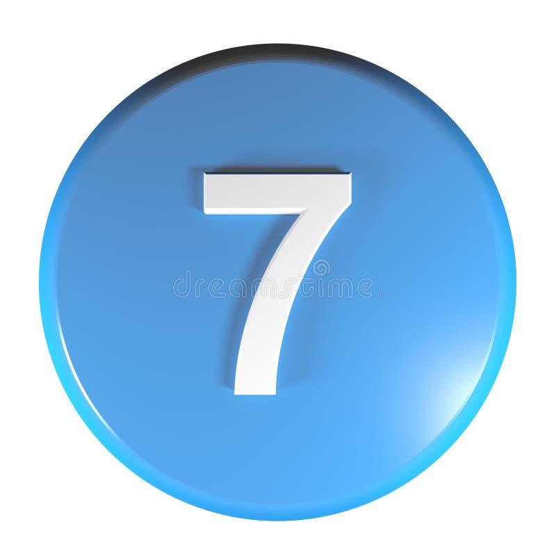 Tecla azul do círculo do número 7 - ilustração da rendição 3D ilustração stock