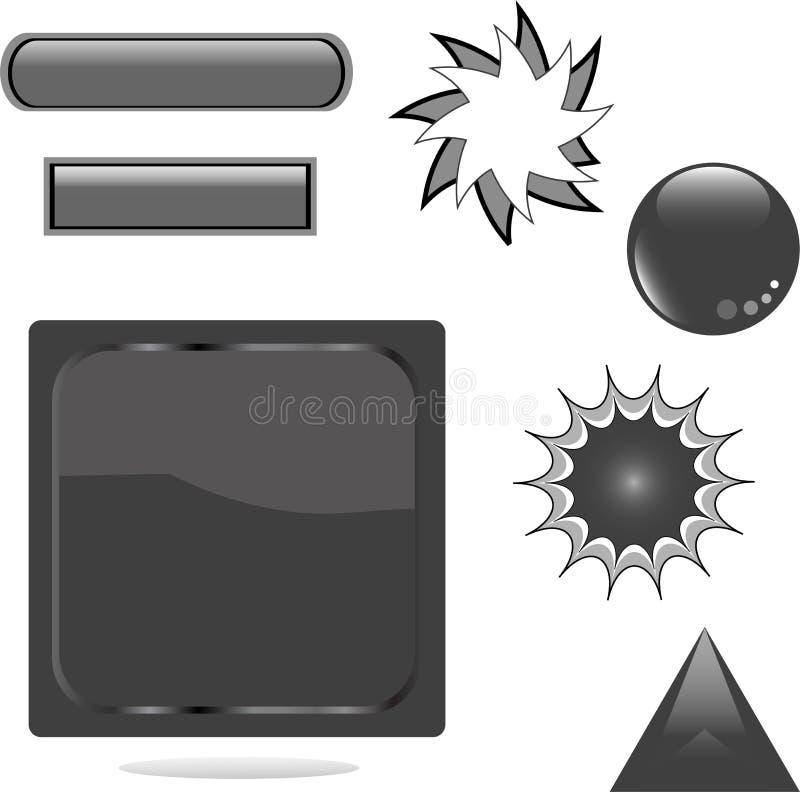 Tecla brilhante preta do Web do jogo ilustração stock