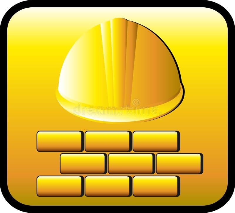 Tecla da construção com capacete e tijolos ilustração stock