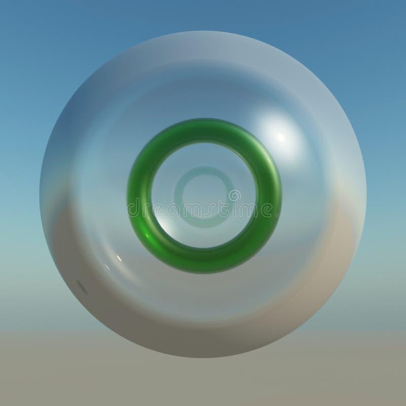 Tecla de cristal redonda da potência ilustração do vetor