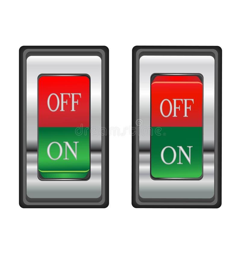 Tecla de interruptor vermelha On-off ilustração do vetor