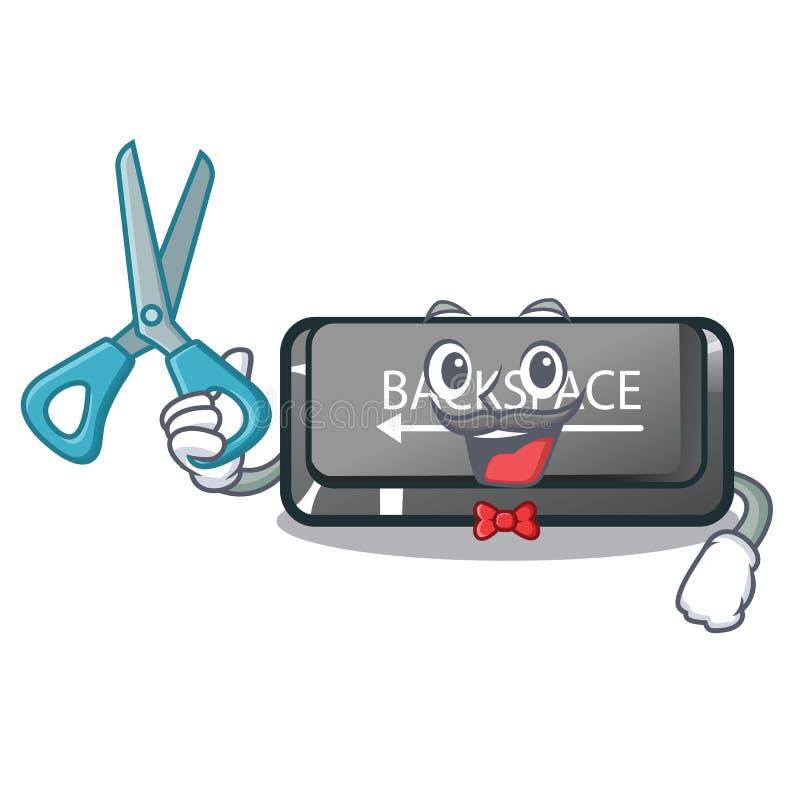 Tecla de retroceso del botón del peluquero aislada en la mascota stock de ilustración