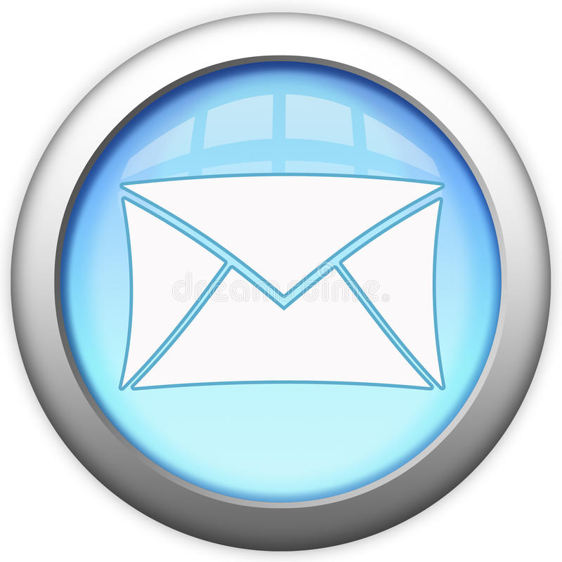 Tecla de vidro azul do email ilustração royalty free