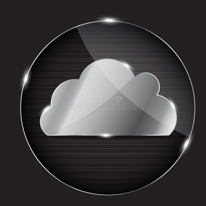 Tecla de vidro do vetor com ícone da nuvem ilustração royalty free