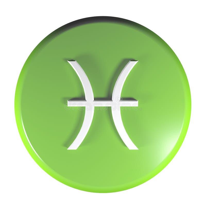 Tecla do círculo do verde do ÍCONE dos PEIXES do ZODÍACO - ilustração da rendição 3D ilustração royalty free