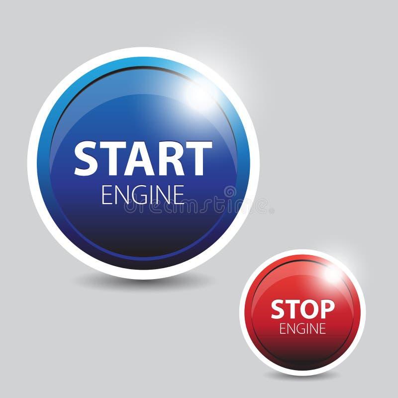 Tecla do começo e de batente do motor de automóveis ilustração royalty free