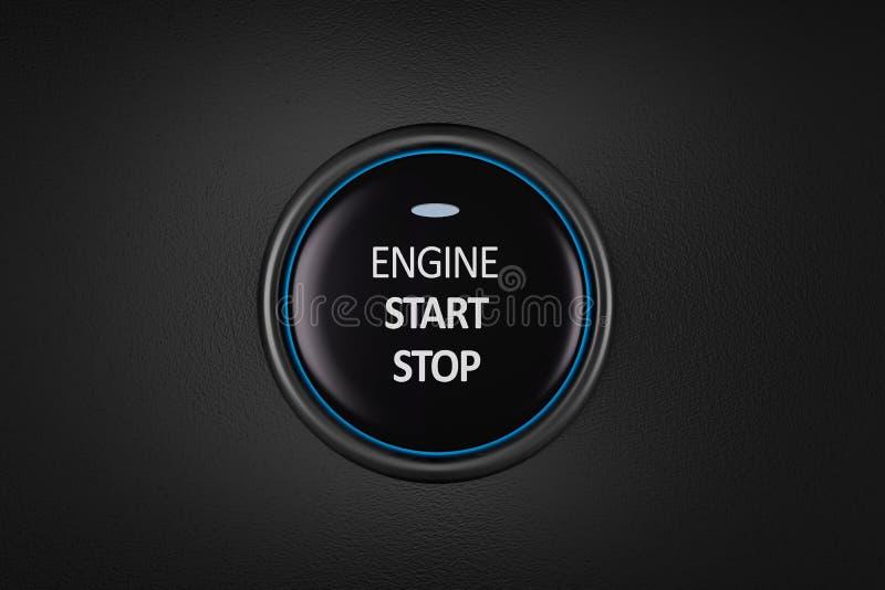 Tecla do começo e de batente do motor de automóveis rendição 3d ilustração royalty free