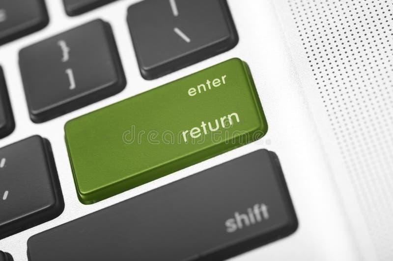 Tecla do retorno verde fotos de stock