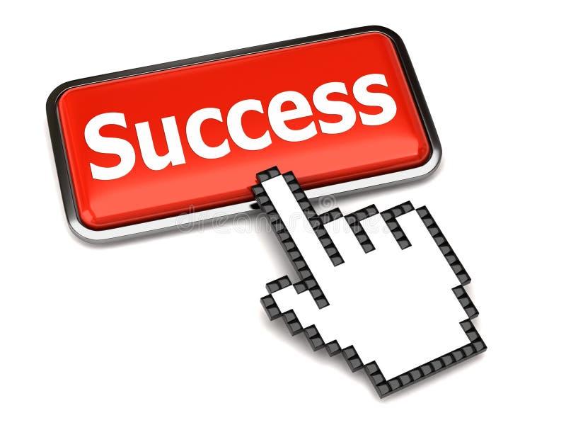 Tecla do sucesso e cursor da mão ilustração stock