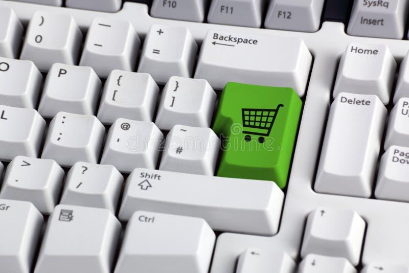 Tecla do trole da compra do comércio electrónico fotografia de stock