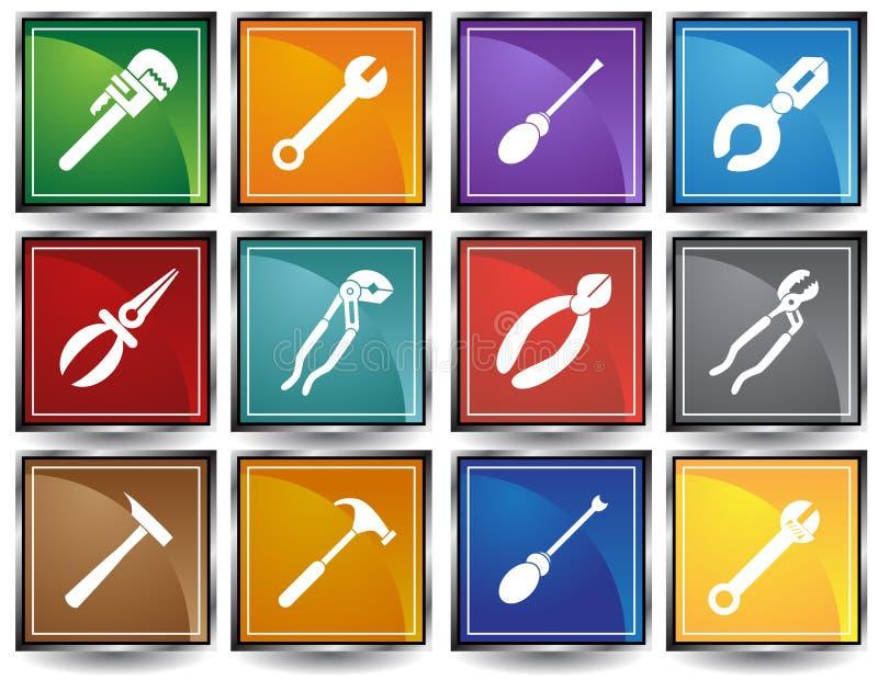 Tecla do Web das ferramentas - quadrado ilustração royalty free