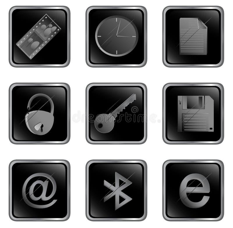 Tecla do Web do quadrado preto do vetor ilustração royalty free
