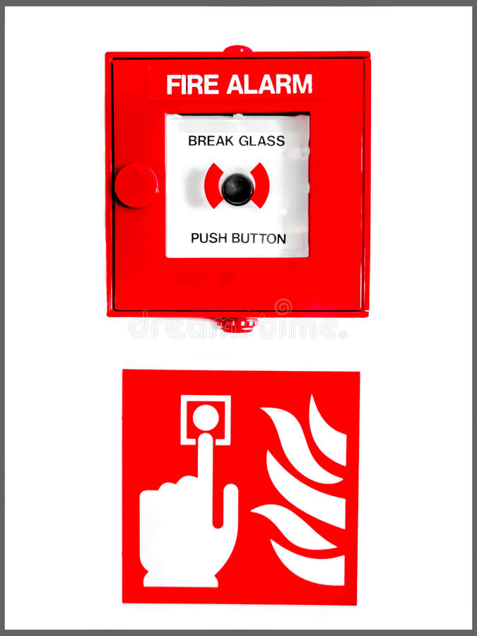 Tecla e sinal do alarme de incêndio fotos de stock