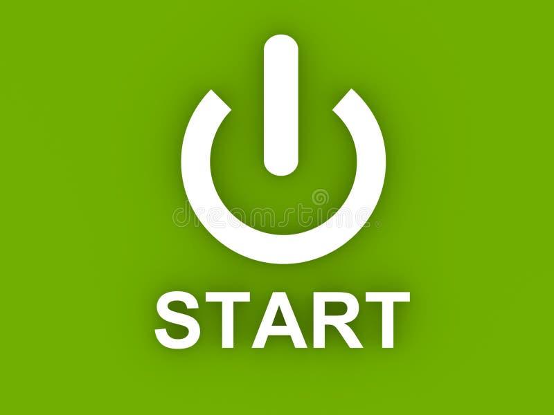 Tecla 'Iniciar Cópias' do poder do computador no verde fotos de stock royalty free
