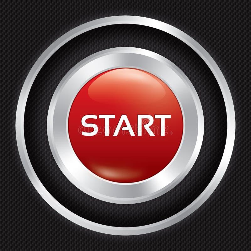 Tecla 'Iniciar Cópias' no fundo da fibra do carbono. ilustração stock