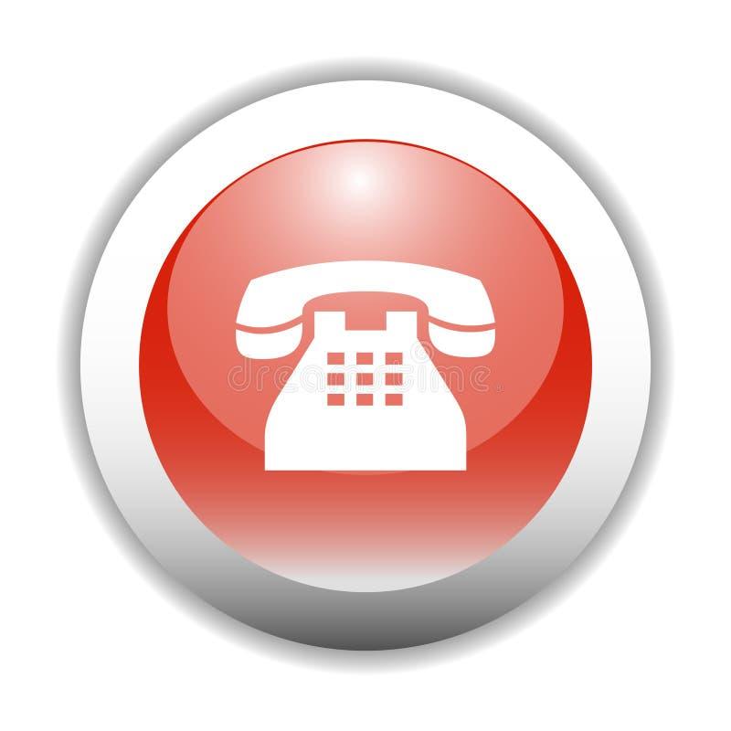 Tecla lustrosa do ícone do sinal do telefone ilustração royalty free