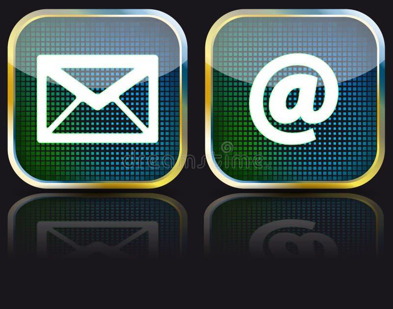 Tecla lustrosa do email do ícone, ilustração ilustração do vetor