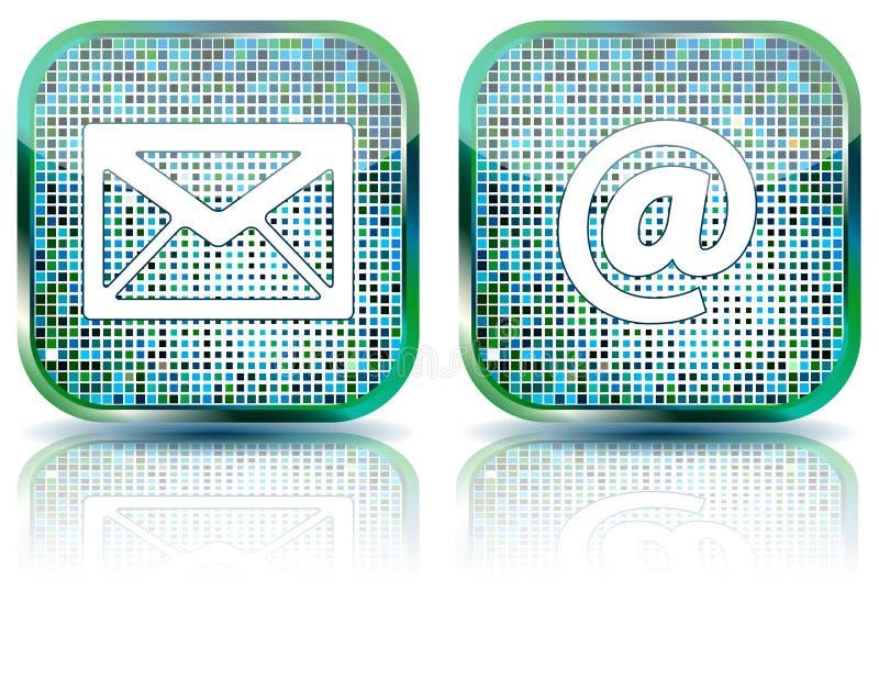 Tecla lustrosa do email do ícone, ilustração ilustração stock