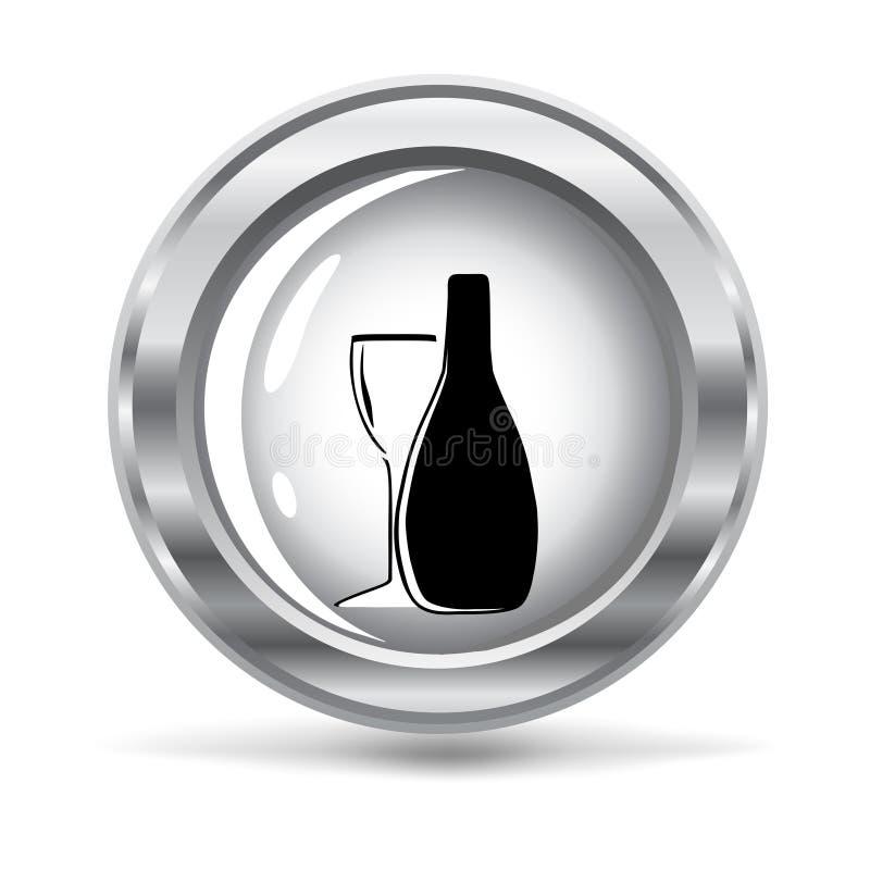 Tecla metálica com um frasco do vinho ilustração do vetor