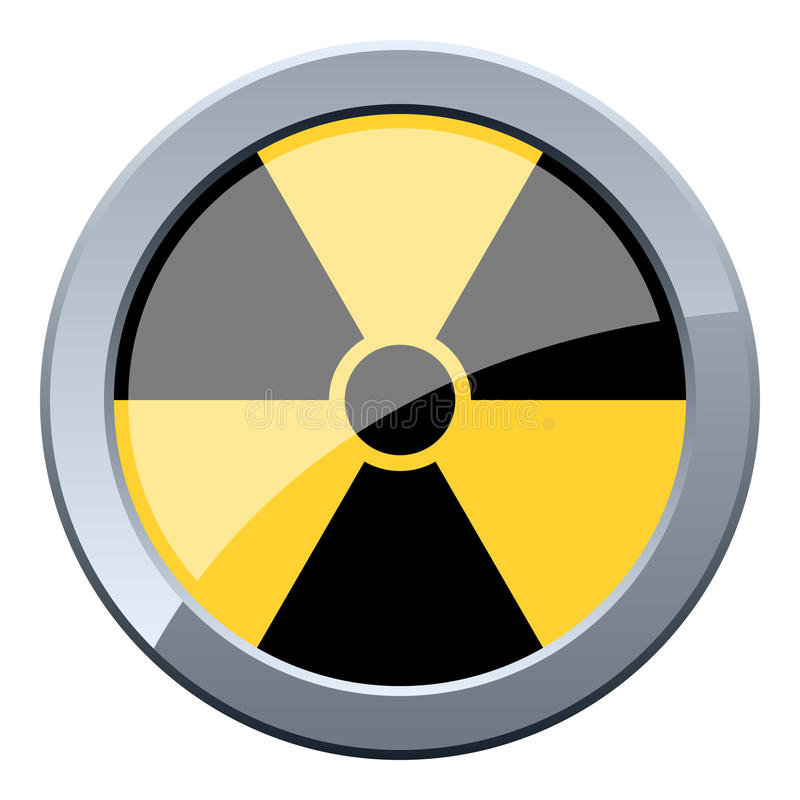 Tecla nuclear preta & amarela ilustração royalty free