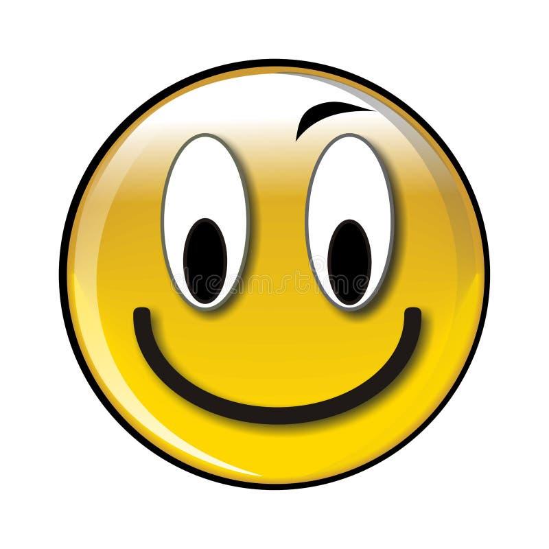 Tecla ou ícone amarelo lustroso feliz do smiley ilustração royalty free