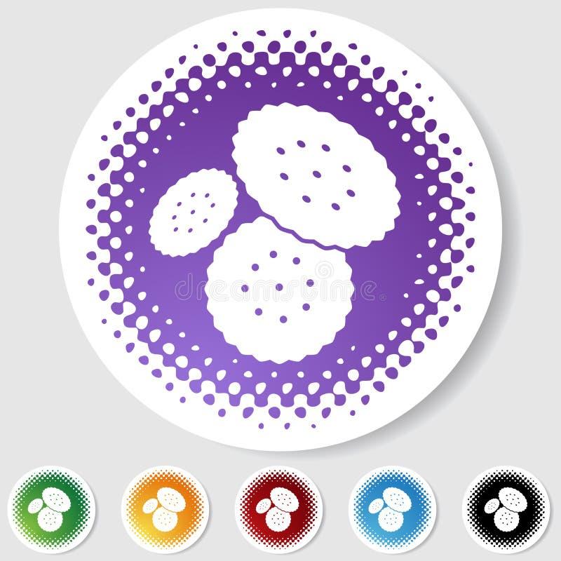 Tecla redonda da reticulação ajustada - biscoitos ilustração do vetor