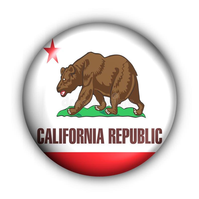 A tecla redonda EUA indic a bandeira de Califórnia ilustração do vetor