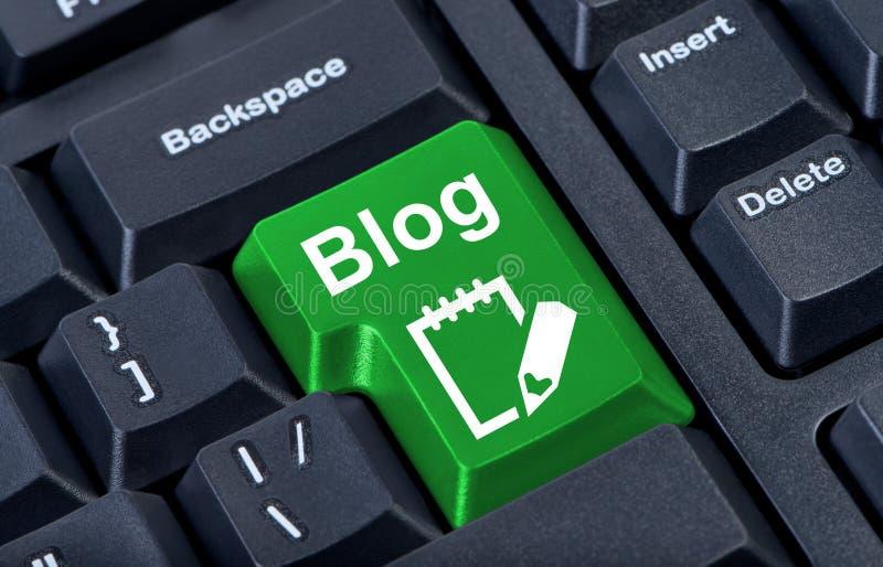 Tecla verde com blogue do ícone. ilustração do vetor