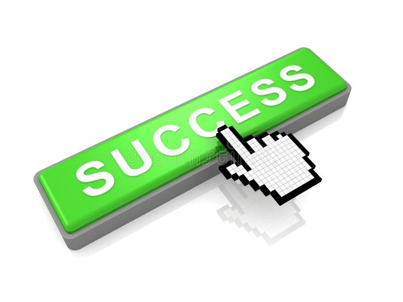Tecla verde do sucesso e cursor clássico da mão ilustração stock