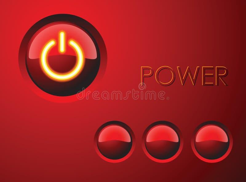 Tecla vermelha da potência ilustração stock