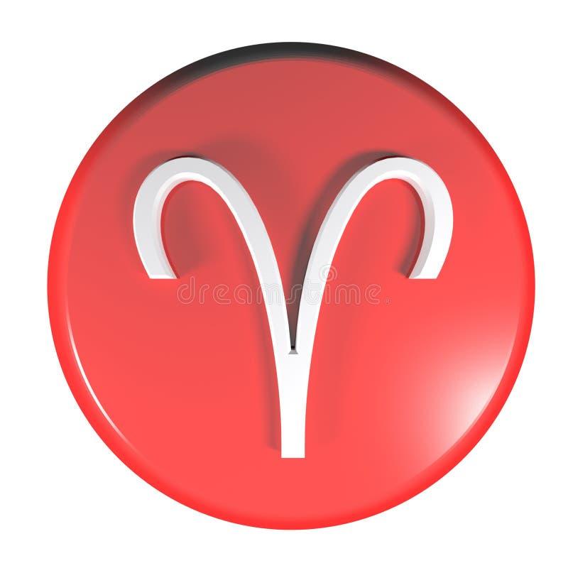 Tecla vermelha do círculo do ÍCONE do ÁRIES do ZODÍACO - ilustração da rendição 3D ilustração do vetor