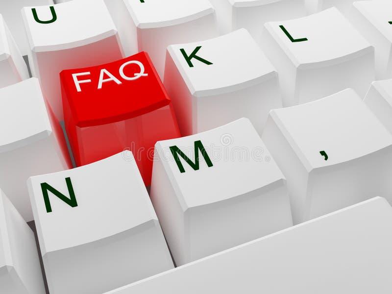 Tecla vermelha do FAQ ilustração do vetor