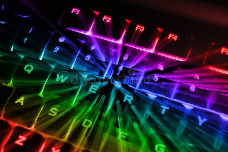 Teclado Backlit arco-íris fotos de stock royalty free