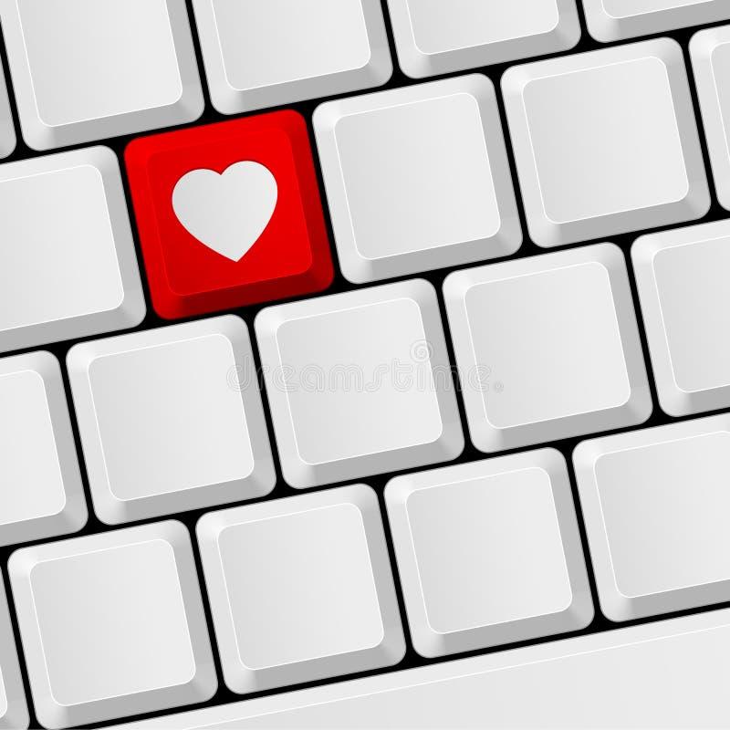 Teclado com botão do coração ilustração do vetor