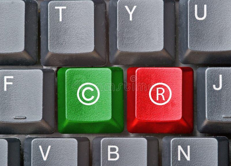 Teclado com chaves para direitos reservados imagem de stock
