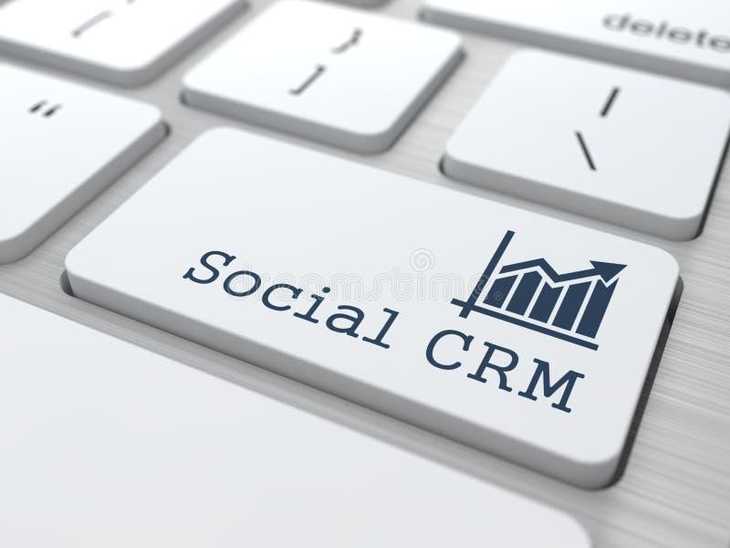 Teclado com o botão social de CRM. fotos de stock royalty free