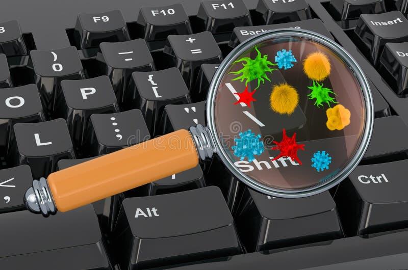 Teclado computacional com germes e bactérias sob lupa renderização 3D ilustração do vetor
