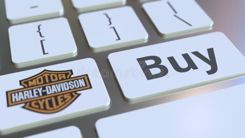 Teclado con el logotipo de la compañía de HARLEY-DAVIDSON y texto de la compra en las llaves Representación conceptual editorial  libre illustration