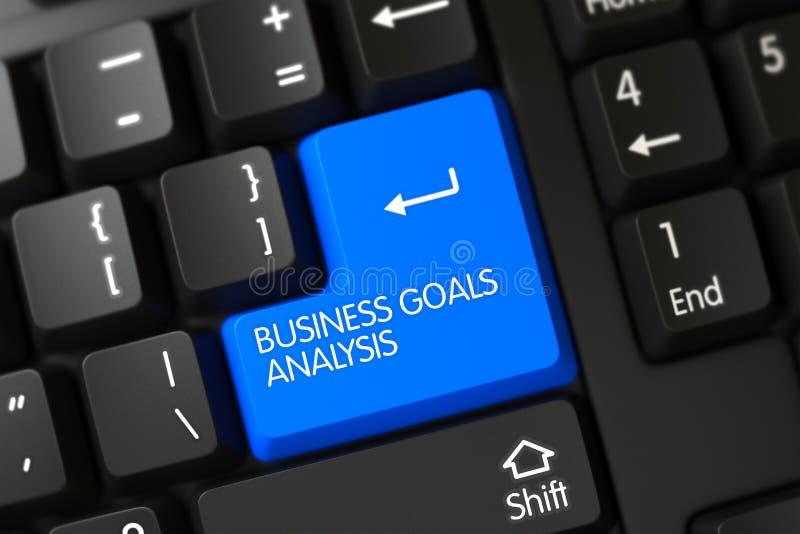 Teclado con la llave azul - análisis de las metas de negocio 3d fotografía de archivo