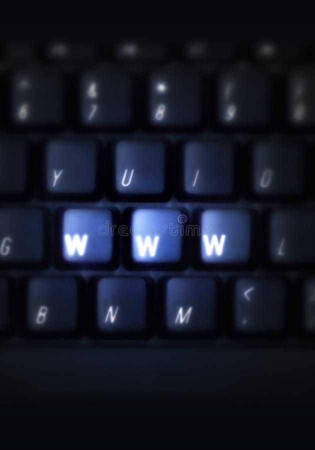 Teclado con WWW en claves imagen de archivo