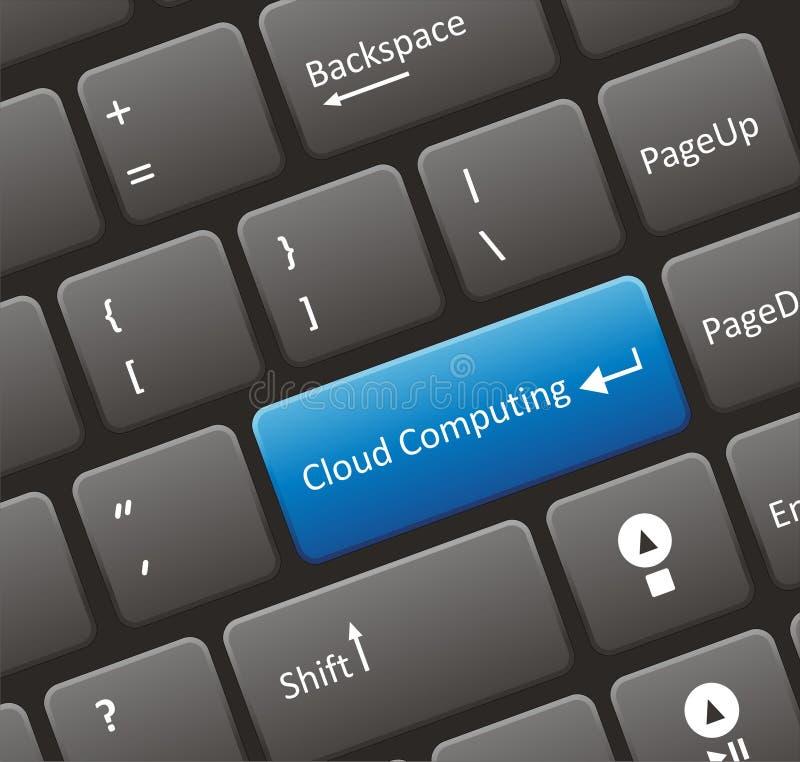 Teclado de computação da nuvem ilustração stock