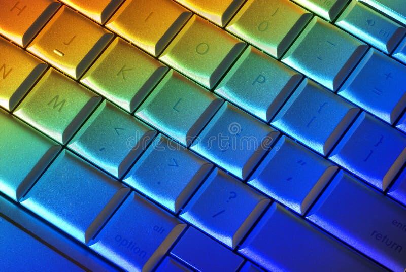 Teclado de computador colorido imagem de stock