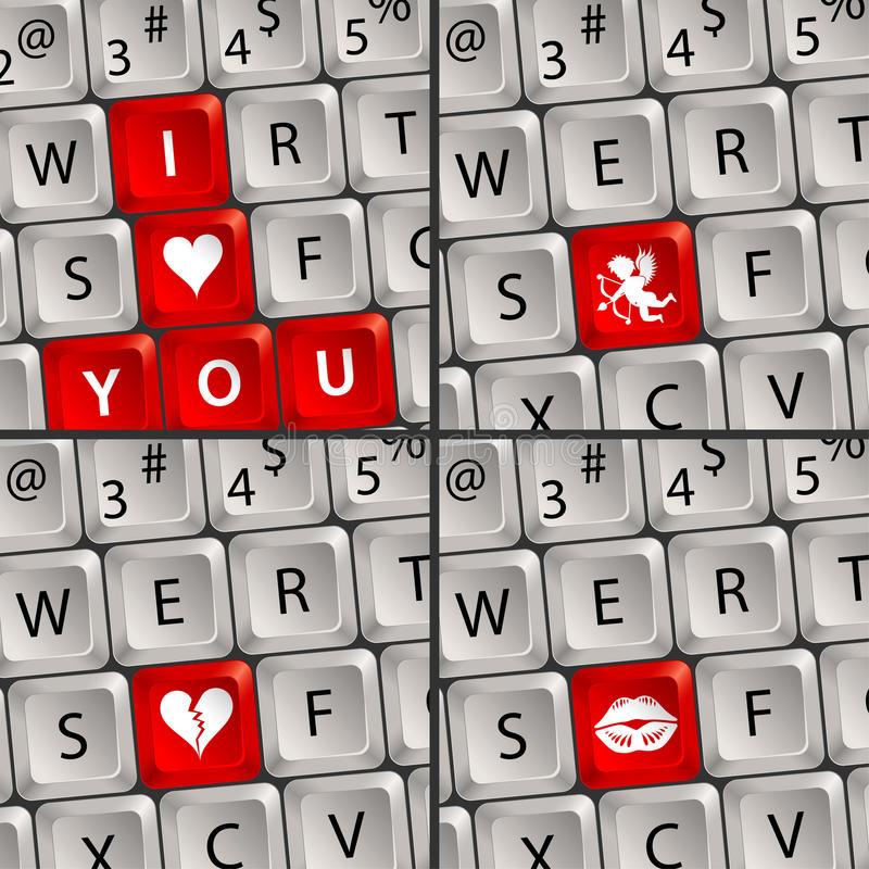 Teclado de computador com ícone do amor ilustração stock
